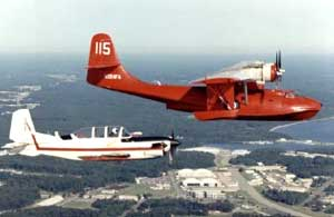 Photo of T-34C Mentor and PBY Catalina in Flight